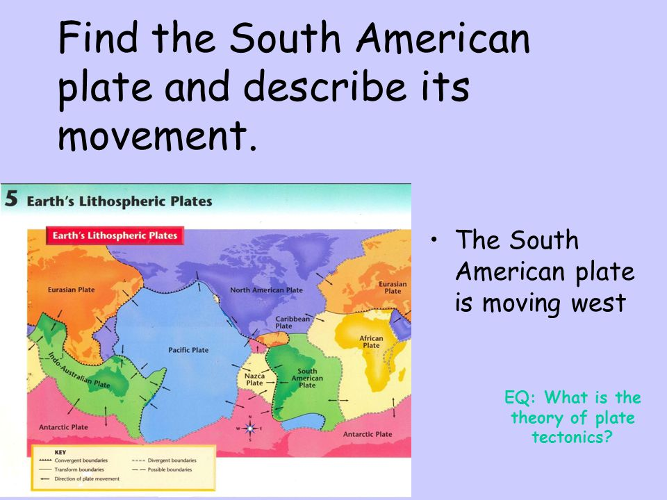 Find the South American plate and describe its movement.
