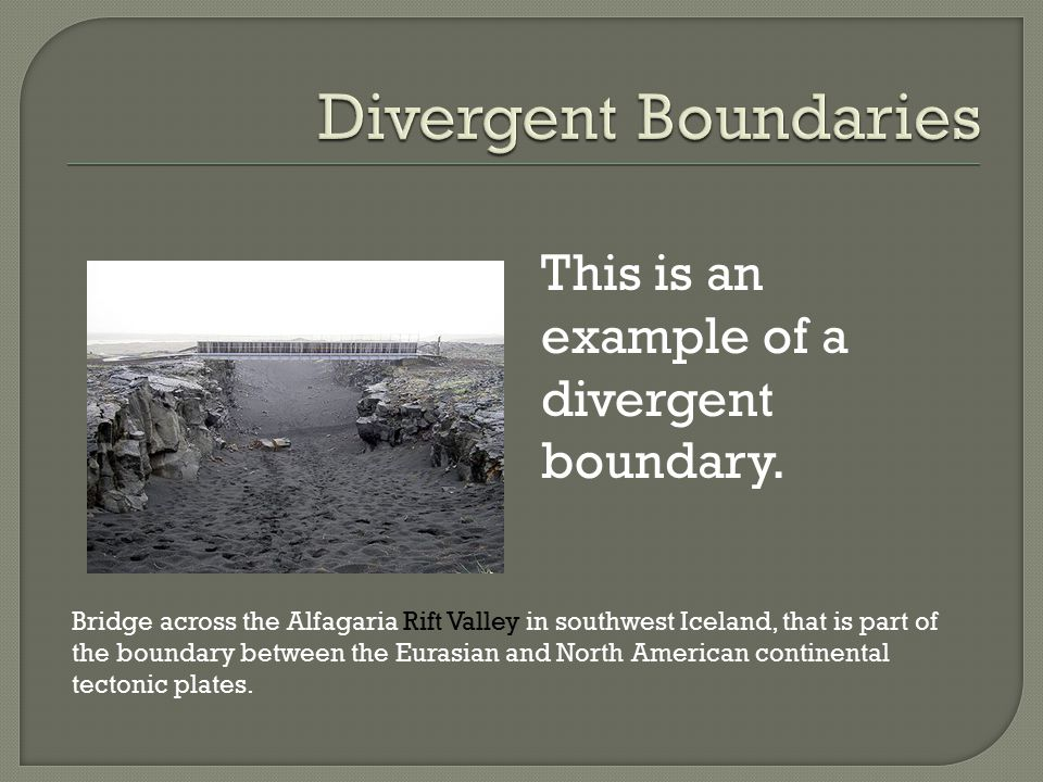 Types of plate boundaries ppt video online download divergent boundaries this is an example of a divergent boundary fandeluxe