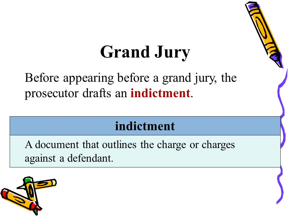 Grand Jury Before appearing before a grand jury, the prosecutor drafts an indictment. indictment.