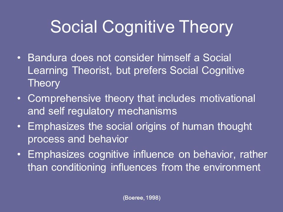 albert banduras social cognitive theory is based on