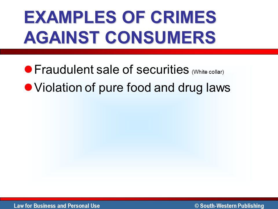 EXAMPLES OF CRIMES AGAINST CONSUMERS