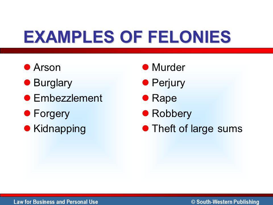 EXAMPLES OF FELONIES Arson Burglary Embezzlement Forgery Kidnapping