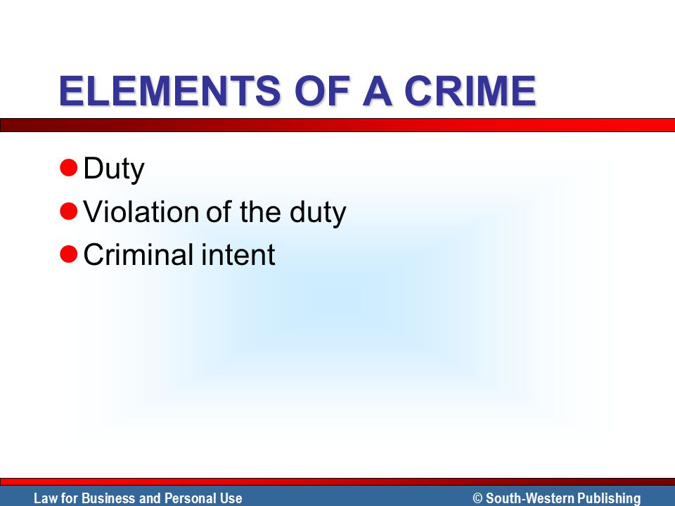 ELEMENTS OF A CRIME Duty Violation of the duty Criminal intent