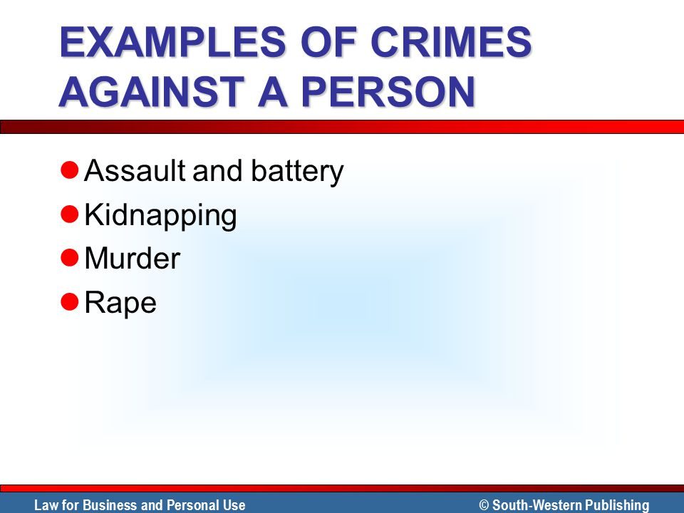 EXAMPLES OF CRIMES AGAINST A PERSON