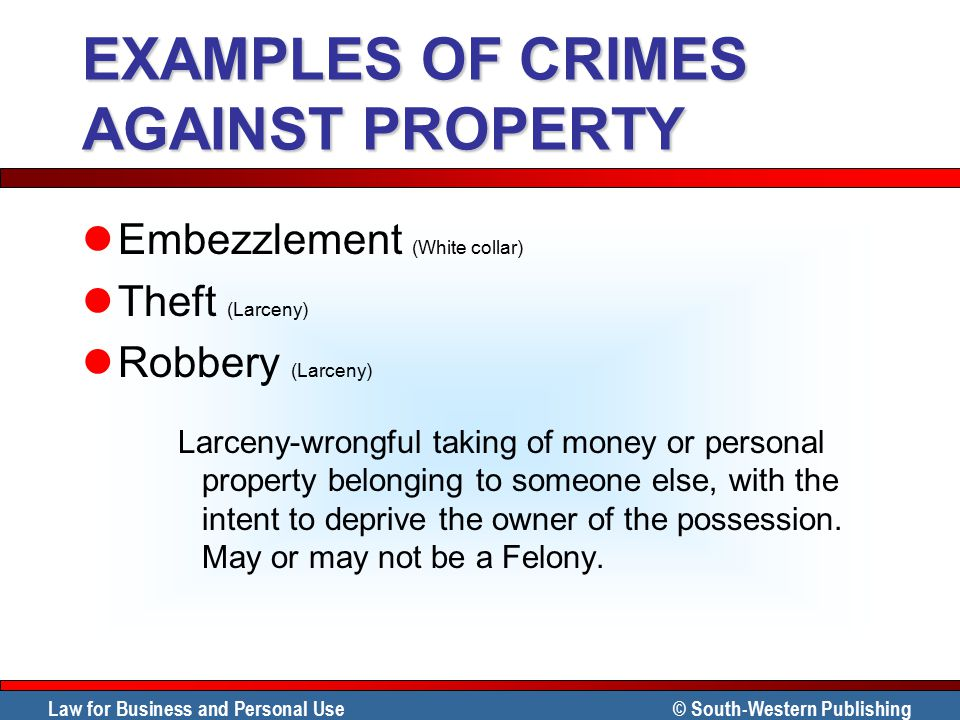 EXAMPLES OF CRIMES AGAINST PROPERTY