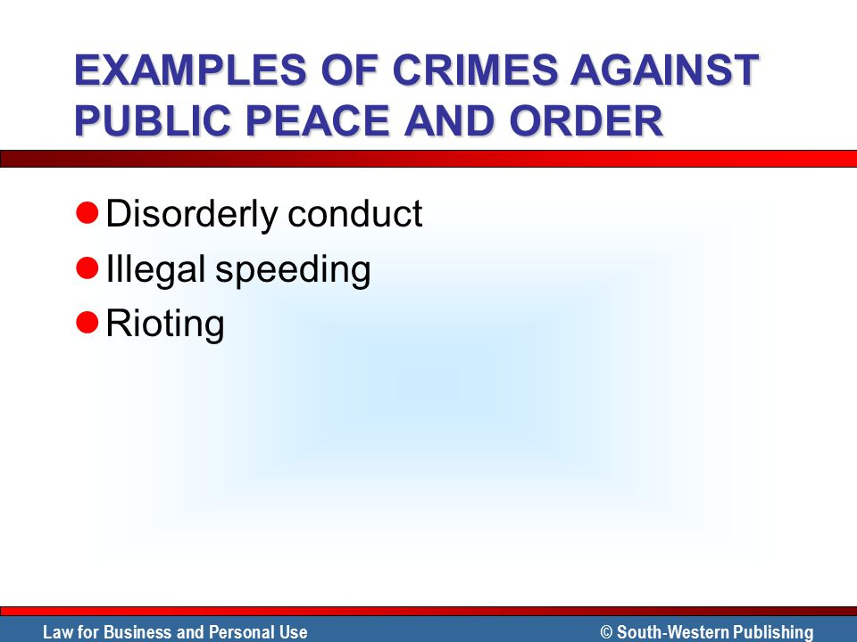 EXAMPLES OF CRIMES AGAINST PUBLIC PEACE AND ORDER
