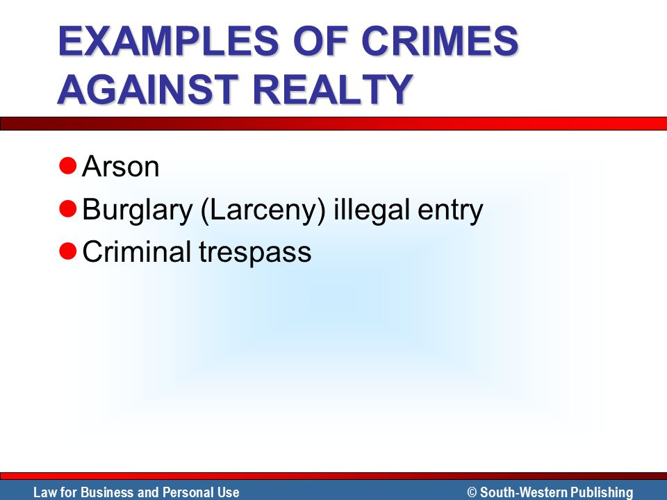 EXAMPLES OF CRIMES AGAINST REALTY
