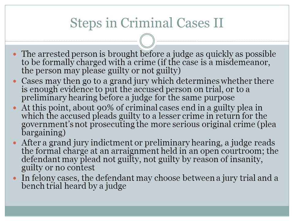 Steps in Criminal Cases II
