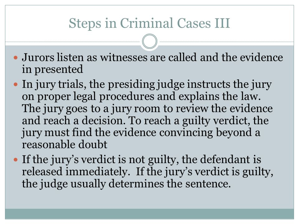 Steps in Criminal Cases III