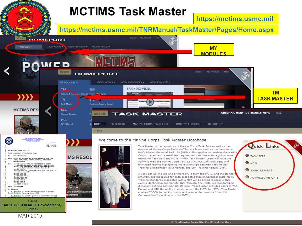 Marine Corps Task List MCTL / MET / METL Life Cycle MAR ...