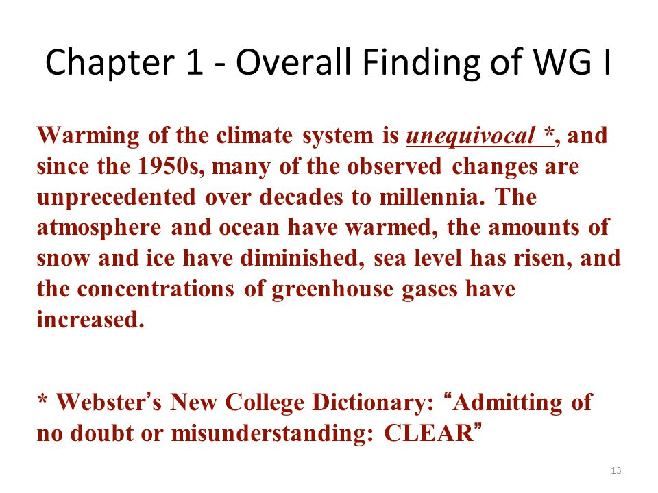 Chapter 1 - Overall Finding of WG I