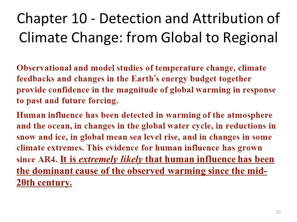 Chapter 10 - Detection and Attribution of Climate Change: from Global to Regional