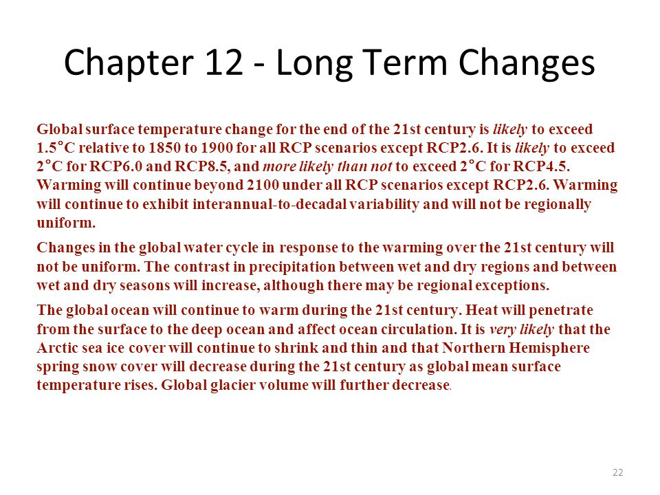 Chapter 12 - Long Term Changes