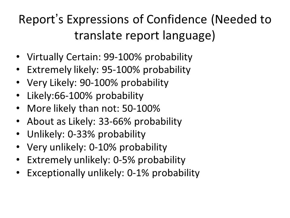 Report's Expressions of Confidence (Needed to translate report language)