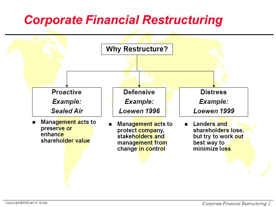 Restructuring a company example