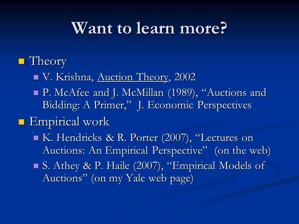 Want To Learn More Theory Empirical Work