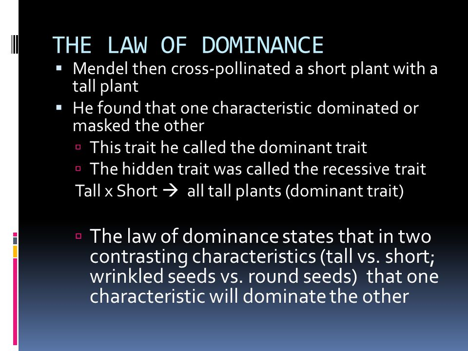 THE LAW OF DOMINANCE Mendel then cross-pollinated a short plant with a tall plant. He found that one characteristic dominated or masked the other.