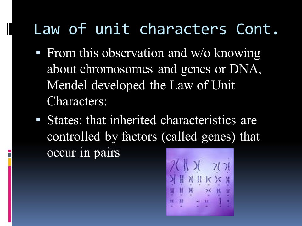 Law of unit characters Cont.