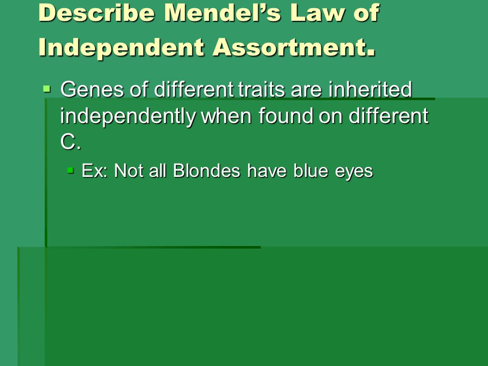 Describe Mendel's Law of Independent Assortment.