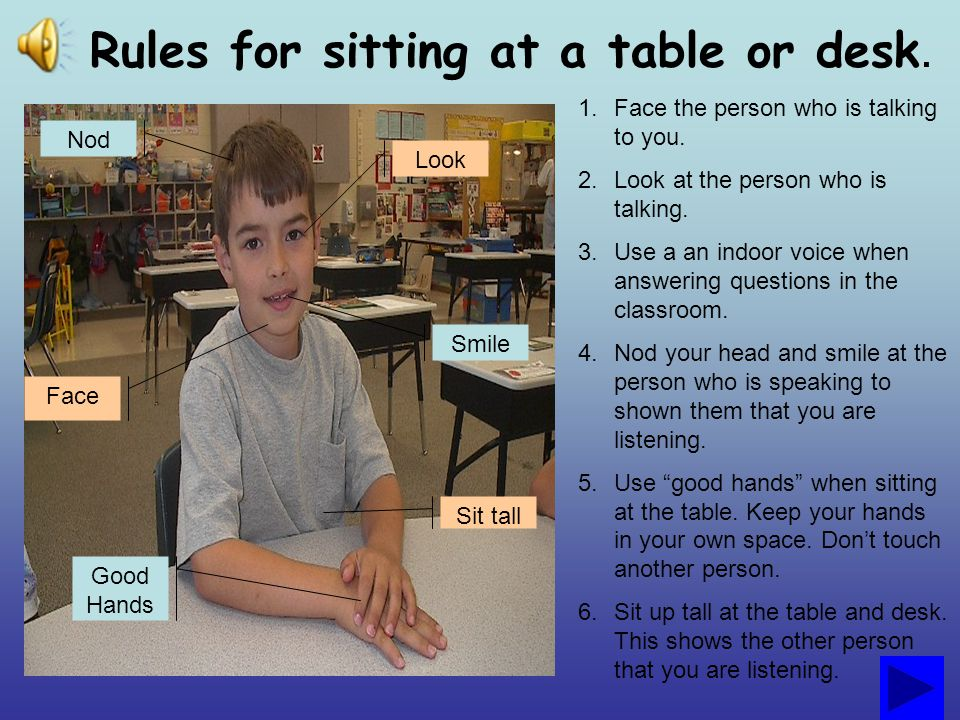 Rules for sitting at a table or desk.