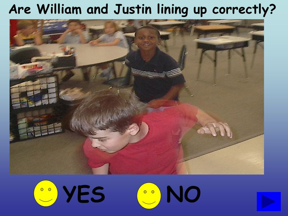 Are William and Justin lining up correctly