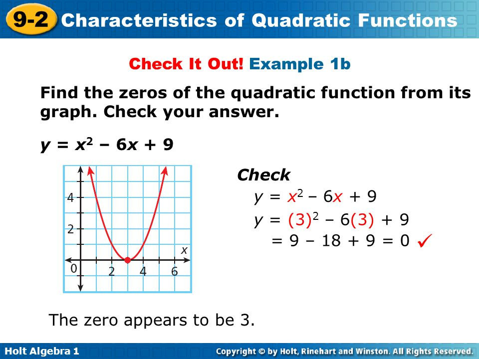 9-2 Characteristics of Quadratic Functions Warm Up Lesson