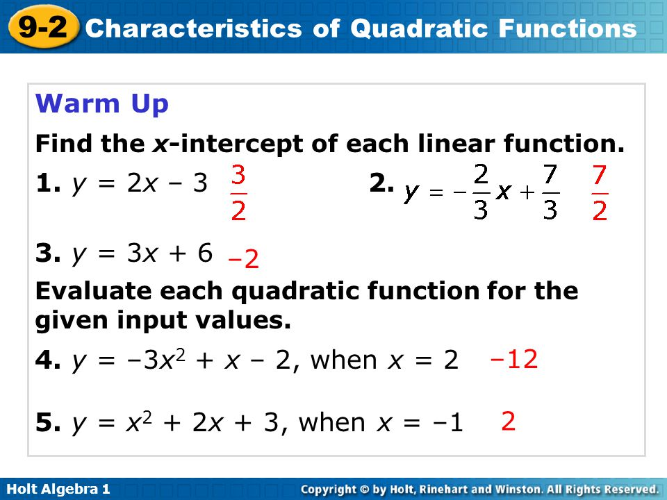 9 2 Characteristics Of Quadratic Functions Warm Up Lesson