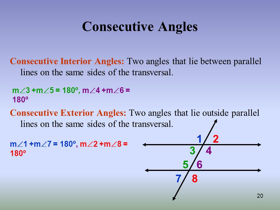 Do same side interior angles in a transversal equal 180 for Consecutive exterior angles theorem