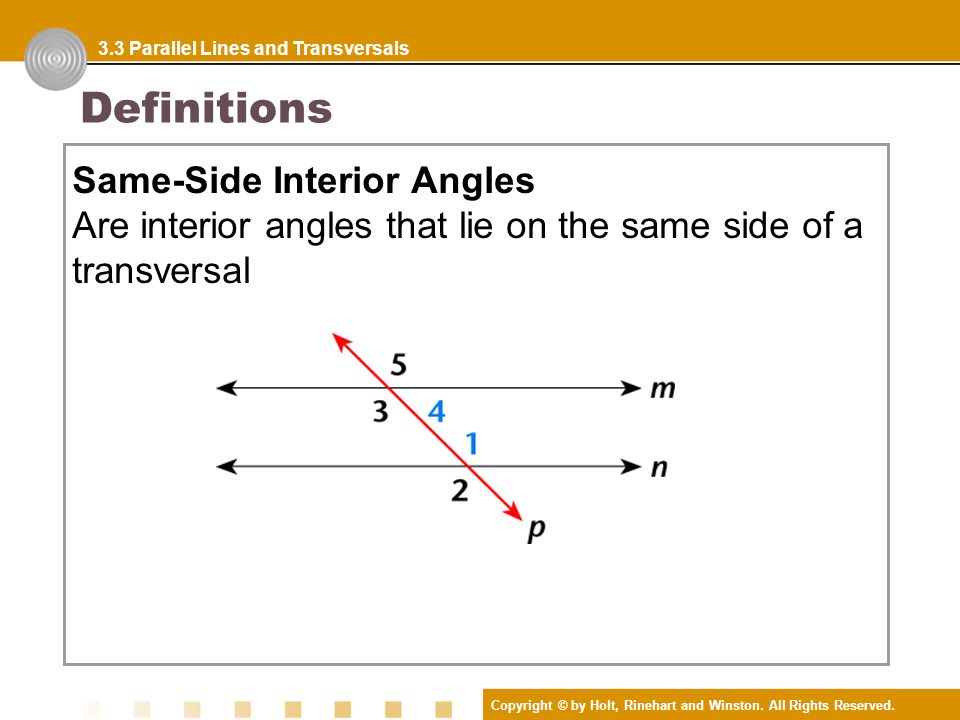 Definitions parallel lines two lines are parallel lines if - Definition of interior and exterior angles ...