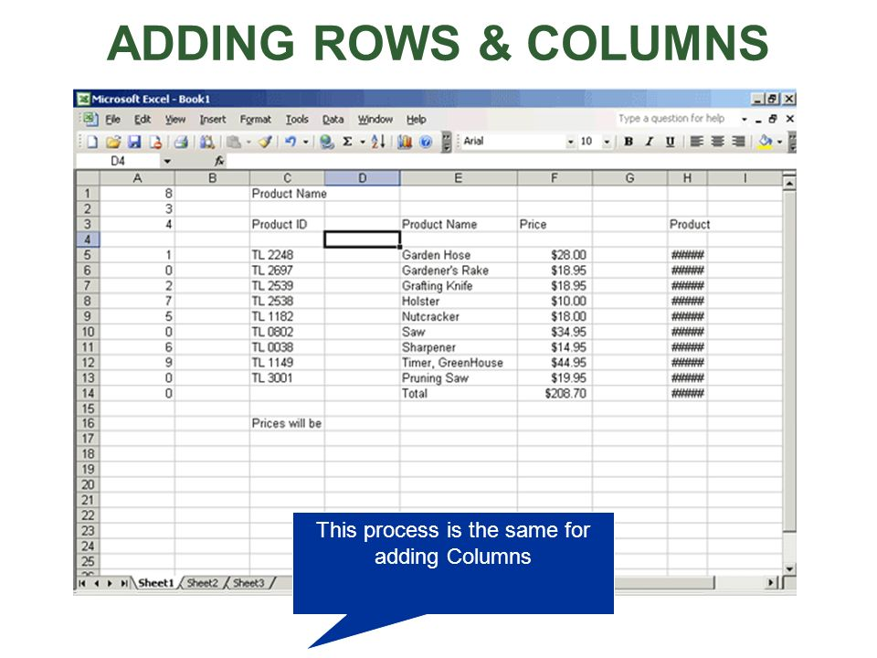 This process is the same for adding Columns