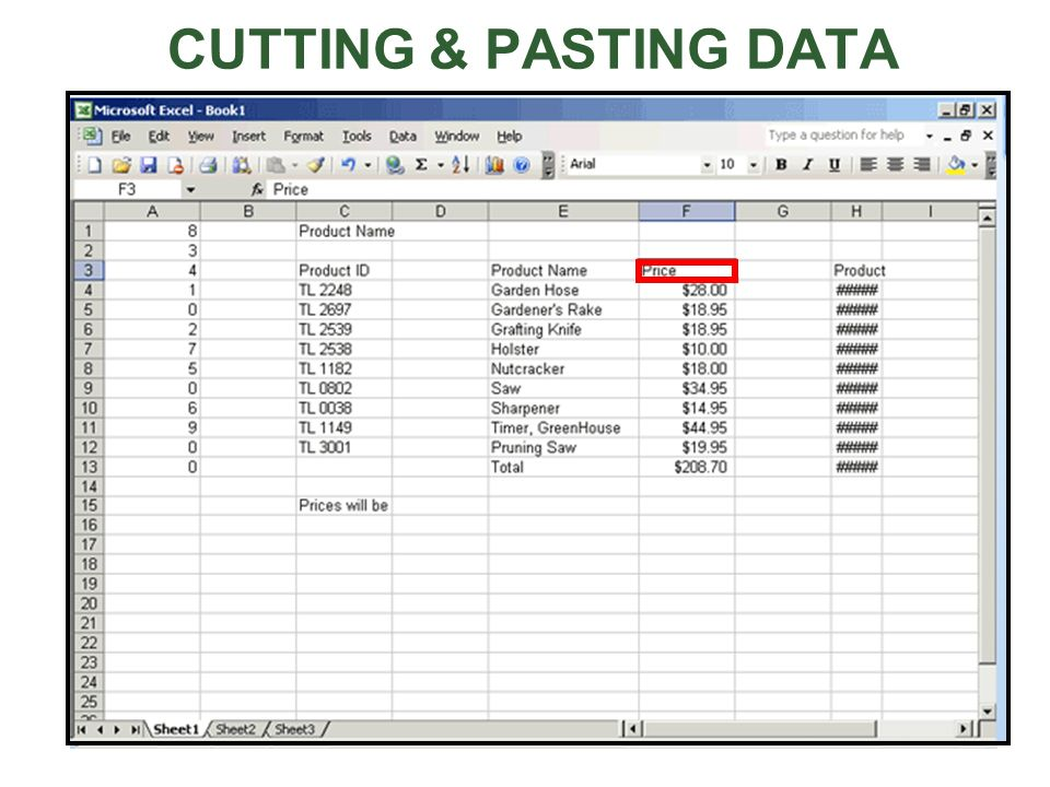 CUTTING & PASTING DATA To move the contents from one cell to another cell, click on the first cell, click the Edit menu, and then click Cut.
