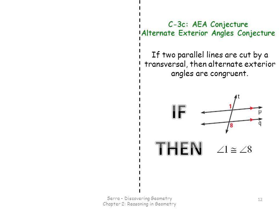 Same side interior angles conjecture for Alternate exterior angles conjecture