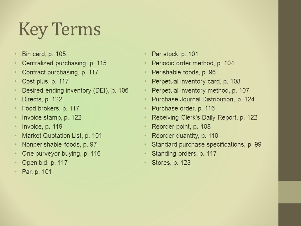 Chapter 4 Food Purchasing and Receiving Control - ppt video online