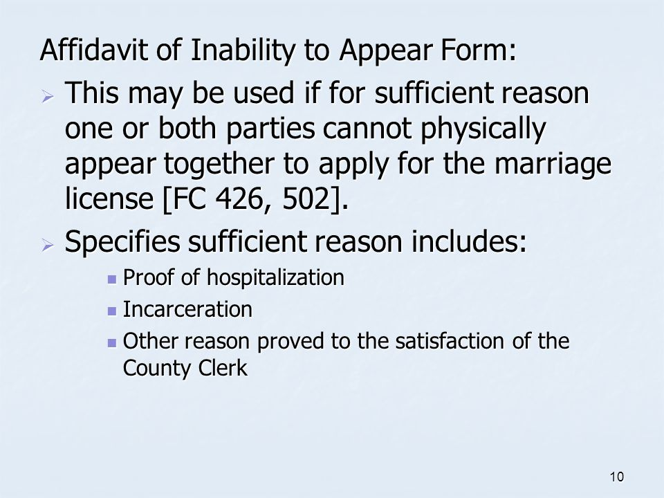 Affidavit of Inability to Appear Form: