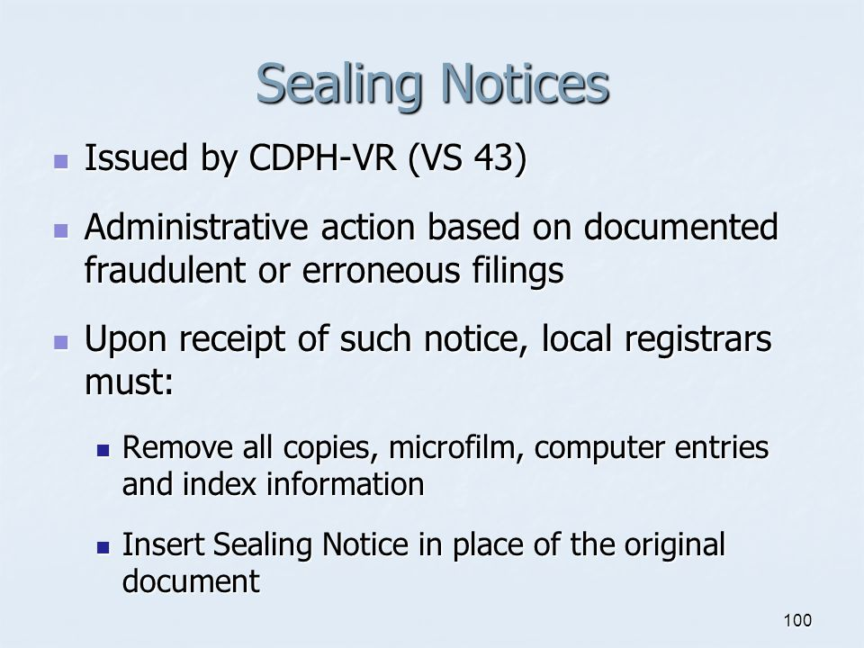 Sealing Notices Issued by CDPH-VR (VS 43)