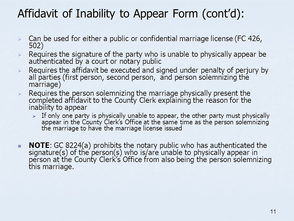 Affidavit of Inability to Appear Form (cont'd):