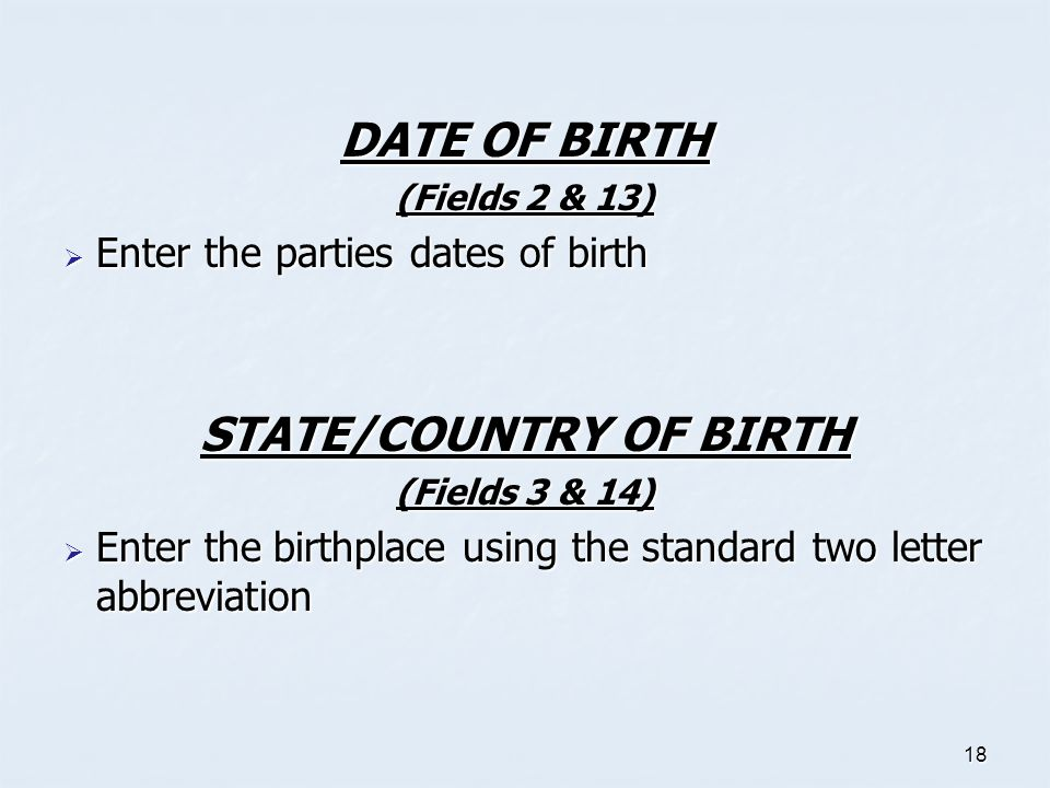 STATE/COUNTRY OF BIRTH