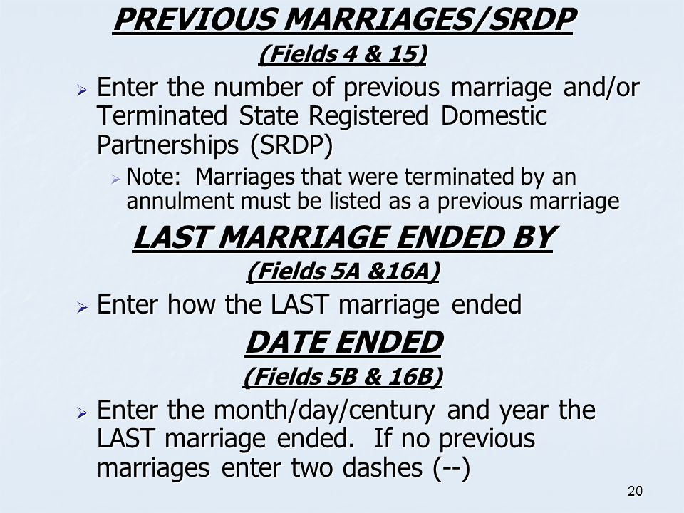 PREVIOUS MARRIAGES/SRDP