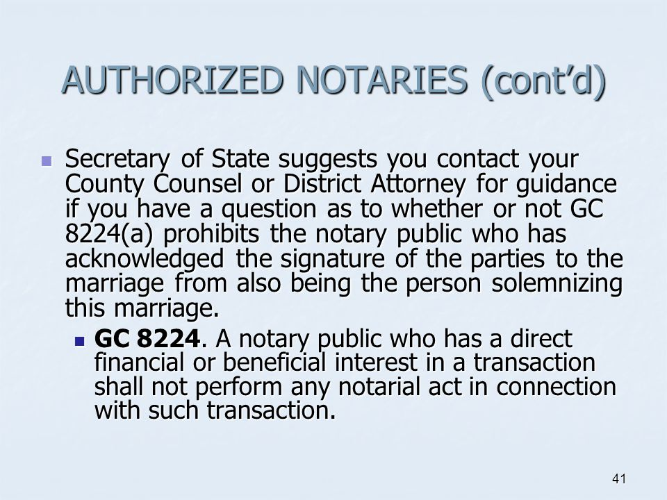 AUTHORIZED NOTARIES (cont'd)