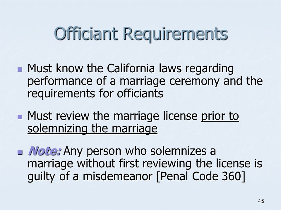 Officiant Requirements