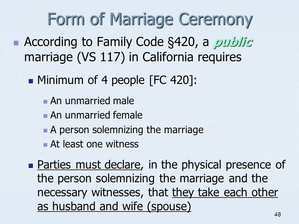 Form of Marriage Ceremony