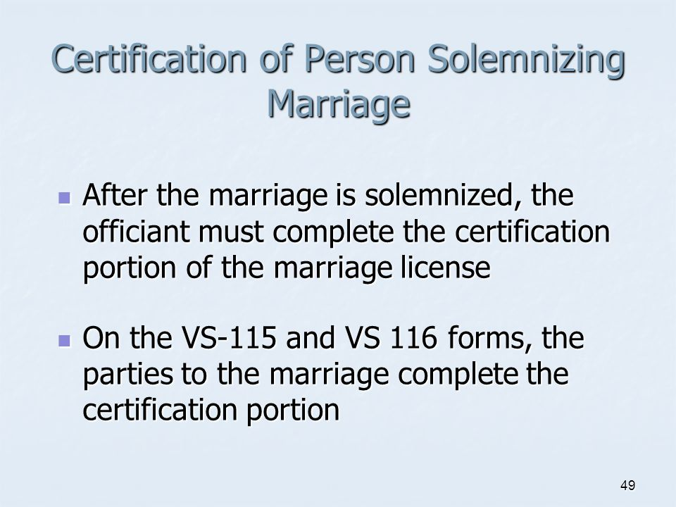 Certification of Person Solemnizing Marriage