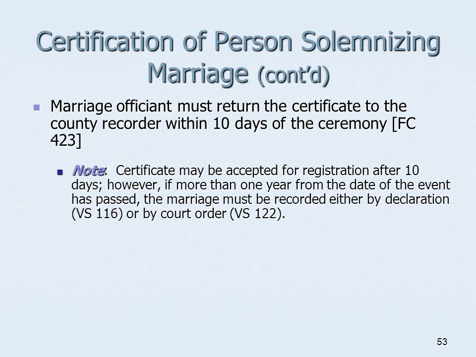 Certification of Person Solemnizing Marriage (cont'd)