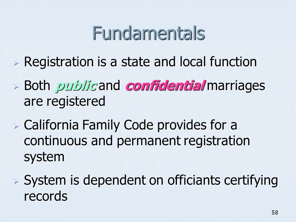 Fundamentals Registration is a state and local function
