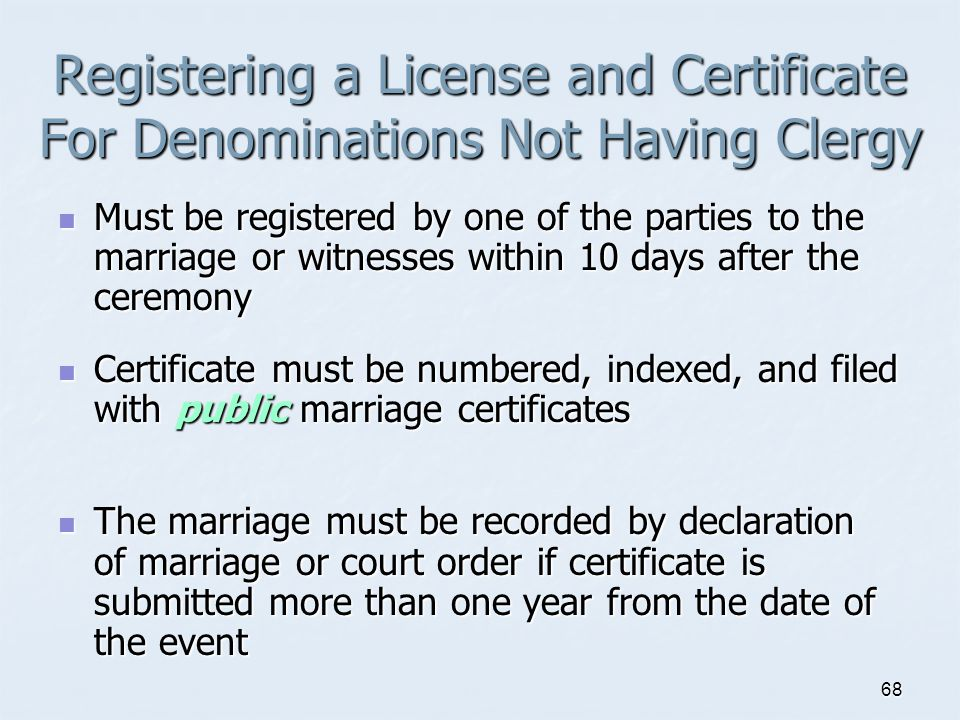 Registering a License and Certificate For Denominations Not Having Clergy