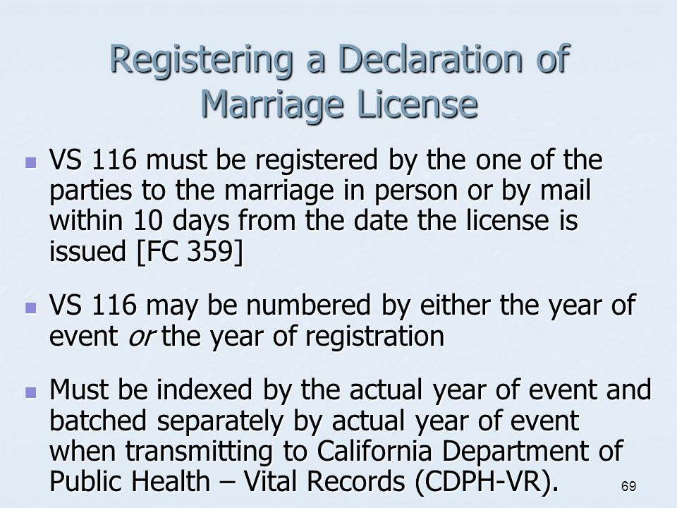 Registering a Declaration of Marriage License