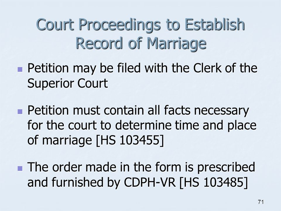 Court Proceedings to Establish Record of Marriage