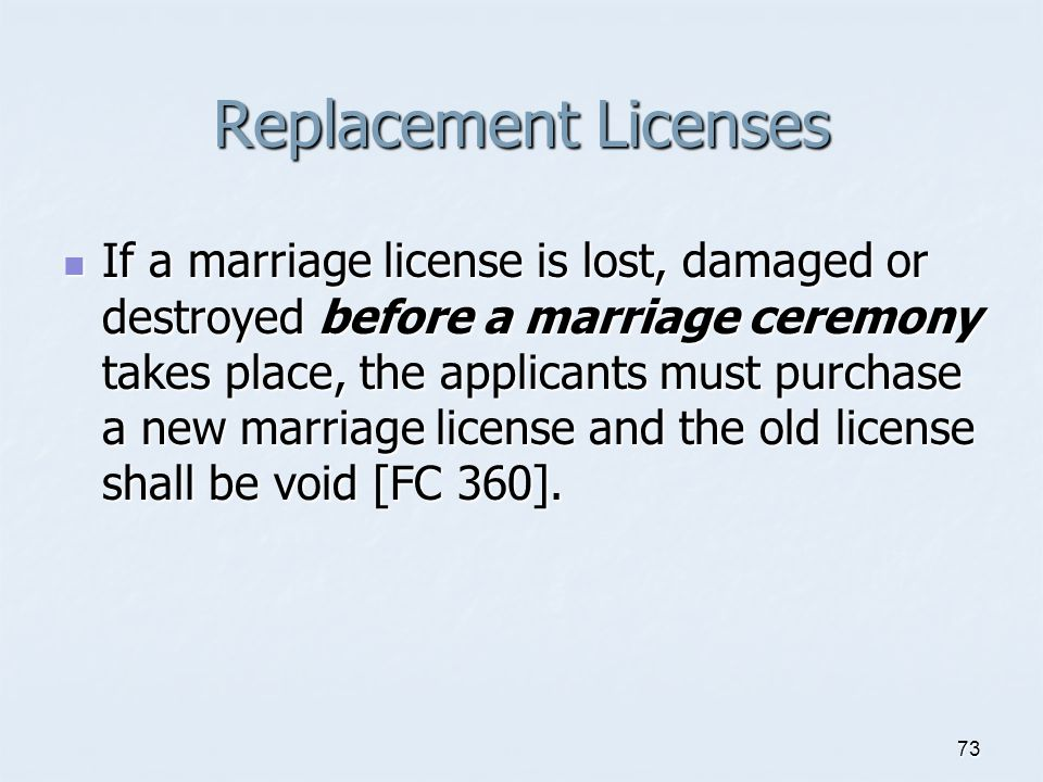 Replacement Licenses