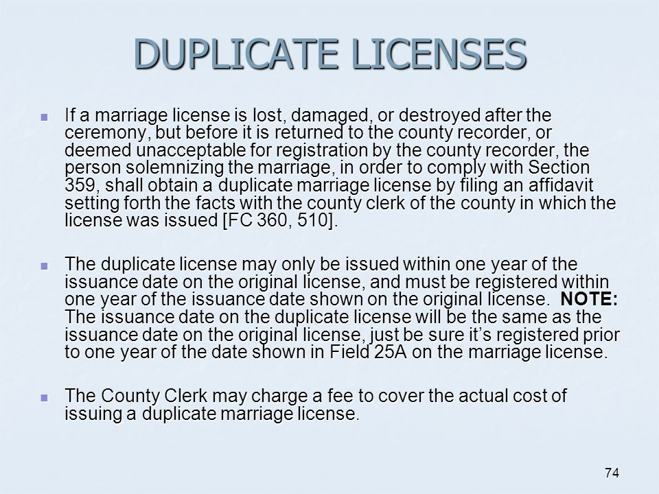 DUPLICATE LICENSES