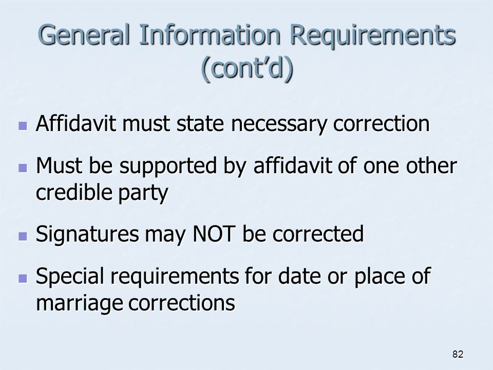General Information Requirements (cont'd)